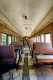 Derelict Passenger Train Car - Abandoned Railroad in Kentucky. Ine a derelict, historic passenger train car then-abandoned railroad track between Lawrenceburg Stock Photo