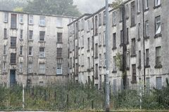 Derelict Poverty Housing Flats Cheap Rent Cuts UK Glasgow Royalty Free Stock Photo