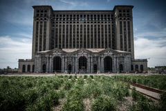 Derelict Railway Station building in Detroit. The old Railway Station building in Detroit which is now barely a shell of the magnificent building that it it once Stock Images