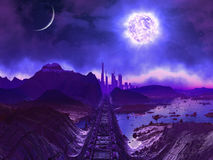 Derelict Railway Track to Alien City Ruins. Derelict railway track leading to abandoned alien city ruins with dying sun above vector illustration