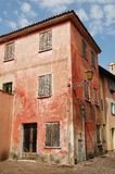 Derelict Red Building in Caorle Stock Image
