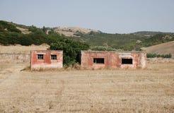 Derelict Red Farm Building Stock Photo