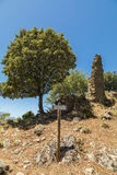 Derelict ruins at abandoned village of Case Nove in Corsica stock photography