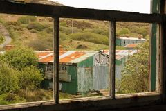 Derelict sleeping quarters. Fort Dunree. county Donegal. Ireland. Derelict quarters at Fort Dunree. county Donegal. Ireland Stock Images