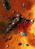 Derelict Spaceship. A giant Spaceship floats wrecked inside and asteroid field