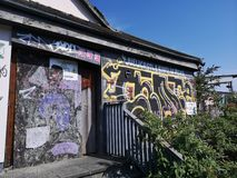 Derelict stereo nightclub. Dav, newcastleupontyne, graffitti, disused, overgrown royalty free stock photography