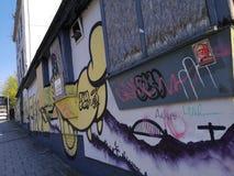 Derelict stereo nightclub. Dav, newcastleupontyne, graffitti, old, broken royalty free stock photography