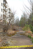 Derelict street and building in Chernobyl Zone. Ukraine Stock Photography