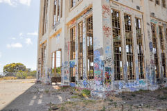Derelict and Tagged: Old Power House Ruins Stock Images
