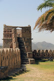 Derelict tower with steps at Kumbhalgarh. Kumbhalgarh Fort is a Mewar fortress on the westerly range of Aravalli Hills, in the Rajsamand District of Rajasthan Stock Photography
