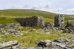 Derelict Water Wheel Launder. The remains of an old water wheel Launder at an old slate mine in Cwm Eigiau stock image