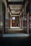 Derelict Wood Paneled Hallway - Abandoned School for Boys - New York stock photo