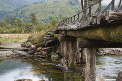 Derelict wooden bridge along the Carretera Austral royalty free stock image