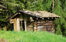 Derelict Wooden Mountain Shack Royalty Free Stock Images