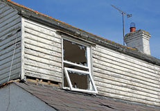 Derelict wrecked abandoned home Stock Photos