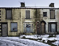 Dereliction. Old terrace houses in lancashire waiting for demolishing or a major refurbishment stock photography