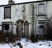 Dereliction. Old terrace houses in lancashire waiting for demolishing or a major refurbishment royalty free stock image