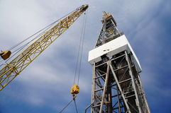 Derick of drilling rig with the yellow rig crane Stock Image