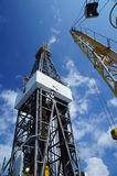 Derick of oil drilling rig with the rig crane Stock Photo