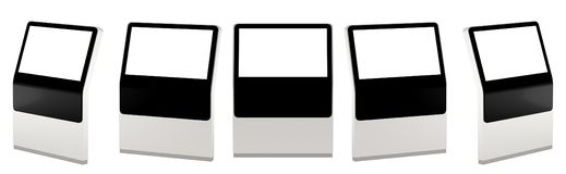 Derida su cinque visualizzazioni delle informazioni nere Supporti dell'insegna nella vostra progettazione rappresentazione 3d illustrazione vettoriale