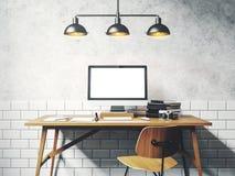 Derida su dello schermo generico di progettazione sulla tavola 3d rendono Fotografie Stock