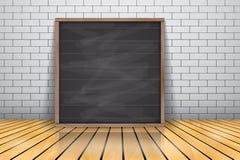 Derida su per l'insegna incorniciata la presentazione che sta sul pavimento di legno lucido, struttura di legno della lavagna royalty illustrazione gratis