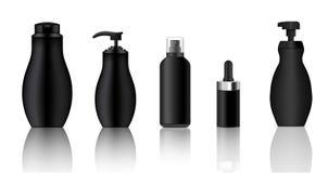 Derida su spruzzo nero realistico, il contagoccia, bottiglie cosmetiche della pompa messe per l'illustrazione del fondo del sapon Immagini Stock