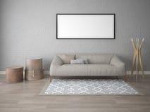 Derida su un salone classico con un sofà d'angolo molle illustrazione vettoriale
