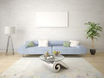 Derida su un salone perfetto con un sofà comodo compatto Illustrazione Vettoriale