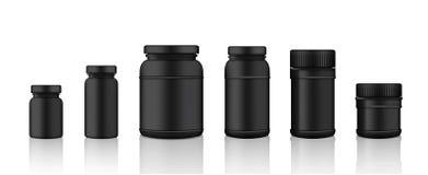 Derida sul barattolo nero realistico del prodotto dell'imballaggio di plastica per proteina o la bottiglia della medicina isolata Fotografia Stock