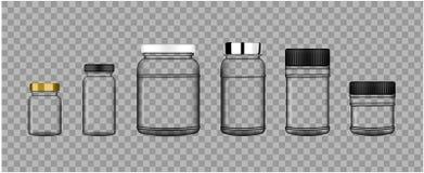 Derida sul barattolo trasparente realistico del prodotto dell'imballaggio di plastica per proteina o la bottiglia della medicina  Fotografie Stock