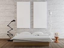 Derida sul manifesto in bianco sulla parete del fondo della camera da letto royalty illustrazione gratis