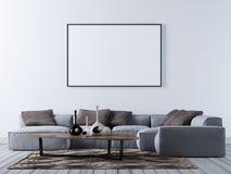 Derida sul manifesto in bianco sulla parete del salone moderno con il sofà d'angolo illustrazione di stock