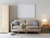 Derida sul manifesto in bianco sullo stile interno moderno della parete illustrazione vettoriale