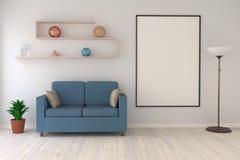 Derida sul manifesto nel salone con una lampada di pavimento, un sofà e uno scaffale moderno Immagini Stock