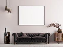 Derida sul manifesto nell'interno classico di stile con il sofà e la pianta marroni royalty illustrazione gratis