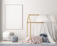Derida sul manifesto nella camera da letto del ` s dei bambini con un baldacchino Stile scandinavo 3d royalty illustrazione gratis