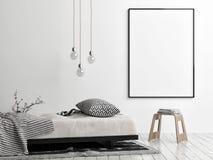 Derida sul manifesto, sullo stile scandinavo, sul sofà, sulla sedia e sulla lampada royalty illustrazione gratis