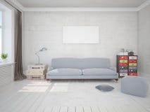 Derida sul salone alla moda con un sofà originale illustrazione di stock