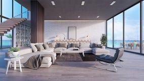 Derida sul salone moderno, l'interior design 3D rendono fotografie stock