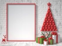 Derida sulla cornice, sulla decorazione di Natale e sui regali in bianco 3d rendono illustrazione di stock