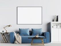 Derida sulla struttura del manifesto nel fondo interno con il sofà blu, stile scandinavo royalty illustrazione gratis