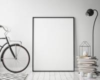 Derida sulla struttura del manifesto nel fondo interno con la bicicletta, lo stile scandinavo, 3D dei pantaloni a vita bassa rend Fotografia Stock Libera da Diritti