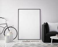 Derida sulla struttura del manifesto nel fondo interno con la bicicletta, lo stile scandinavo, 3D dei pantaloni a vita bassa rend Immagini Stock