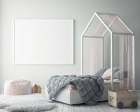 Derida sulla struttura del manifesto nella camera da letto dei bambini, il fondo interno di stile scandinavo, 3D rendono Immagine Stock