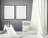 Derida sulle strutture del manifesto nella camera da letto dei bambini, il fondo interno di stile scandinavo, 3D rendono Fotografia Stock