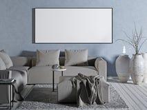 Derida sullo spazio in bianco del manifesto sulla parete blu royalty illustrazione gratis