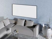 Derida sullo spazio in bianco del manifesto sulla parete blu illustrazione di stock