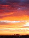 Derigible over Hollywood, CA Sunset. Shot October 30, 2014 Century City Skyline royalty free stock photo