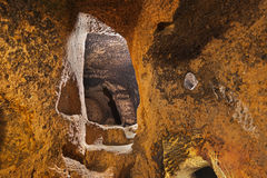 Derinkuyu cave city in Cappadocia Turkey. Travel background Royalty Free Stock Images
